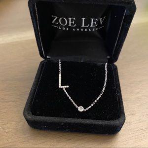 "Zoe Lev Asymmetric Initial (""L"") Diamond Necklace"